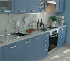 Кухня Вика голубой графит, акация